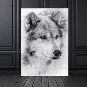 Modern Minimalism Style Black And White Cool Wolf Poster Animal Canvas Painting Prints Wall Pictures For Living Room Decor