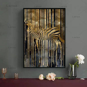 Modern Style Abstract Gold Foil Horse Zebra Animals Canvas Painting Poster And Prints Wall Pictures For Living Room Decor