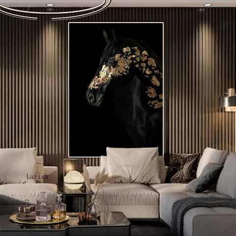 Black and Gold Horse Poster Creativity Animals Canvas Painting Light Luxury Room Decoration Print Wall Art for Living Room