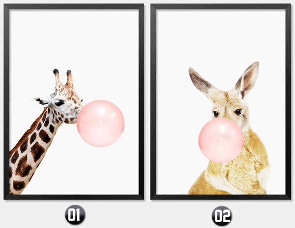 Pink Balloon Cartoon Zebra Giraffe Modern Animal Cuadros Decoration Nordic Poster Home Decor Wall Art Canvas Painting Unframed