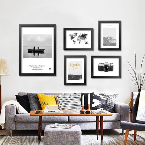 Wall Decor Nordic Poster Cuadros Decoration Wall Pictures For Living Room Grey Map Wall Art Canvas Painting Unframed