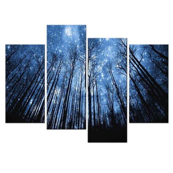 4 Pcs/Set Bule Forest With Starry Sky Canvas Print Painting Special Landscape Artwork paintings for living Room Wall Decor