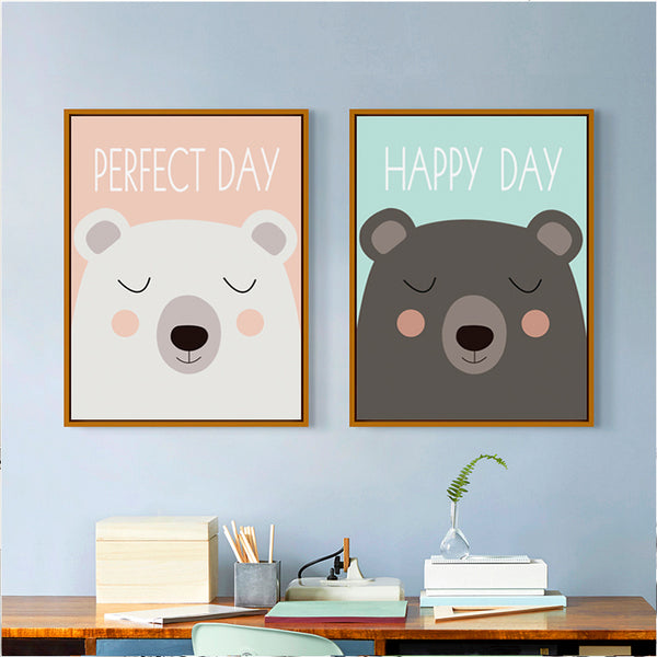Elegant Poetry Two Cute Little Children Cartoon Bear Canvas Painting Art Print Poster Picture Home Children Bedroom Decoration
