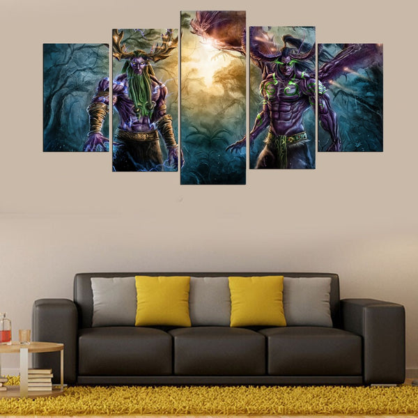 5 Panel World Of Warcraft Game Poster Wall Art Picture Home Decoration Living Room Canvas Print Wall Picture Printing On Canvas