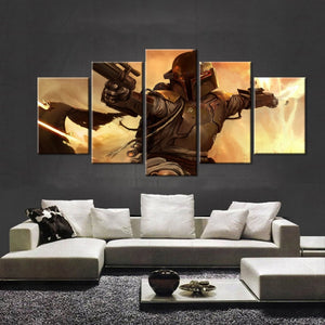 5 Panel Movie Poster Star Wars Bounty Hunter Boba Fett Canvas Painting On The Wall Pictures For Living Room Oil Modular Pictures