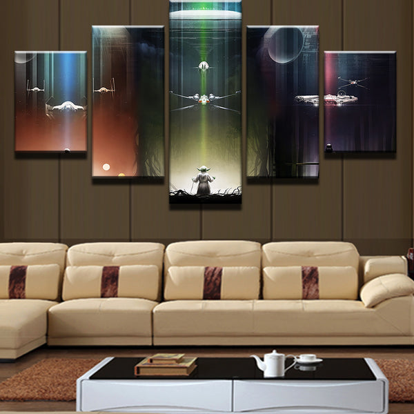 5 Pieces Movie Yoda Darth Vader Death Star Millennium Falcon Home Wall Decor Canvas Picture Art HD Print Painting Canvas Art