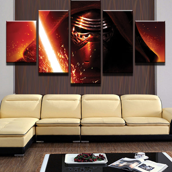 5 Pieces Movie Star Wars Darth Vader Lightsaber Modern Home Wall Decor Canvas Picture Art HD Print Painting On Canvas Artworks