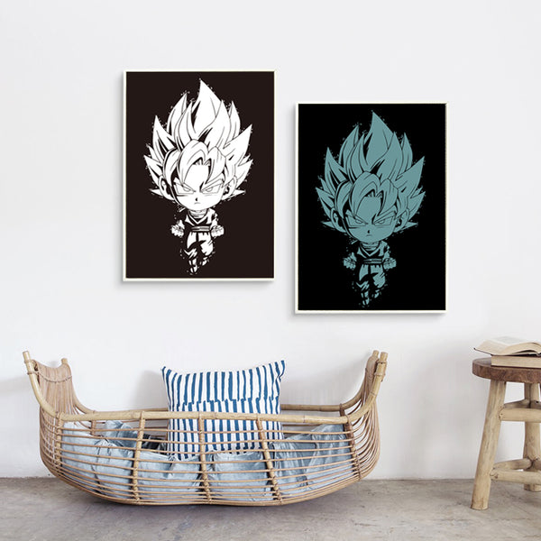 Elegant Poetry Classical Dragonball SON GOKU Cute Cartoon A4 Canvas Painting Art Print Poster Wall Paintings Modern Wall Decor