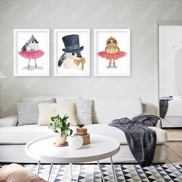 Posters Dancing Birds Animal Carton Wall Art Canvas Painting Wall Pictures For Living Room Nordic Decoration No Poster Frame