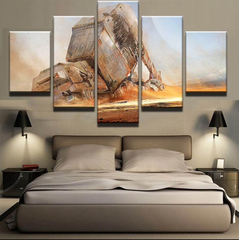 5 Pieces Movie Star Wars Desert Fighter Modern Home Wall Decor Canvas Picture Art HD Print Painting On Canvas For Living Room