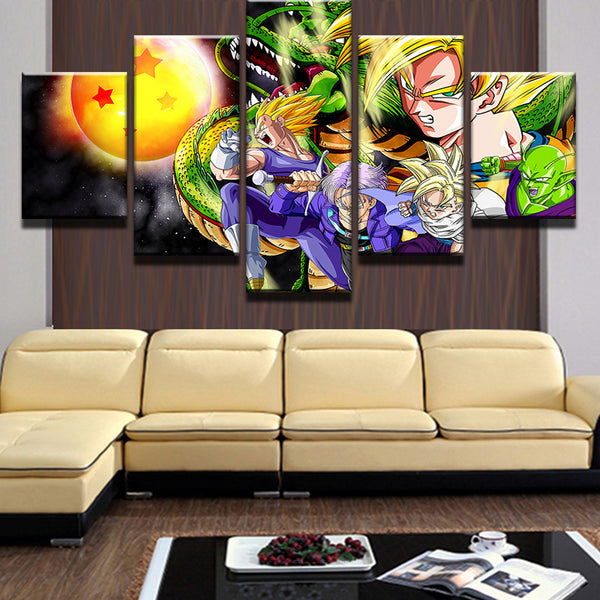 5 Pieces/Set Cartoon Goku Dragon Ball Characters Poster Modern Home Wall Decor Canvas Picture Art HD Print Painting Canvas Art