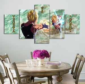 5 Pieces Cartoon Dragon Ball Z Goku Vs Vegeta Modern Home Wall Decor Canvas Picture Art HD Print Painting On Canvas Artworks