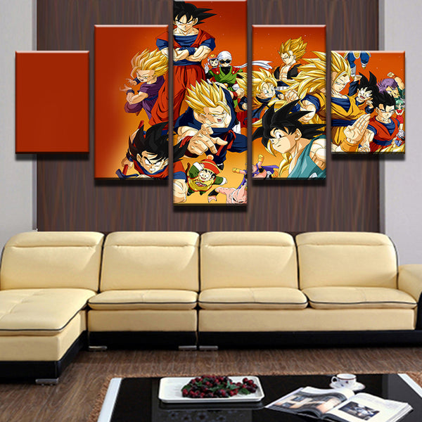 5 Panel/Set Cartoon Dragon Ball Goku Super Saiyan Painting Picture Cuadros Decoration Canvas Landscape Painting For Living Room