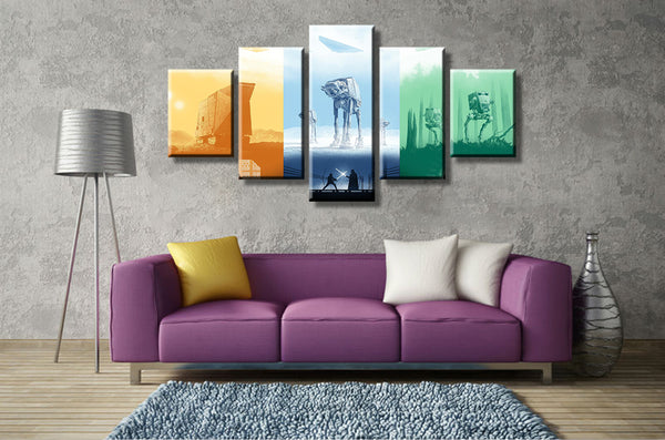 5 Panel Modular Picture Star Wars Painting Canvas Wall Art Picture Home Decor Living Room Canvas Printed Modern Painting Artwork