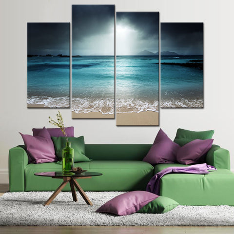 4 Pcs/Set Large Landscape Sea Beach Canvas Print Painting Modern Seascape Scene Blue Wall Art Picture For Home Decor