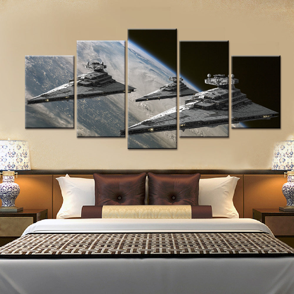 5 Panels Movie Poster Star Wars Star Destroyer Modern Home Wall Decor Canvas Picture Art HD Print Painting On Canvas Artworks