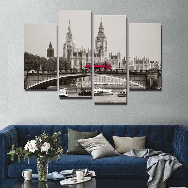 Canvas Print Oil Painting Home Decor Wall Art Picture decoration building 4 Piece London Red Bus   For Living Room(No Frame)