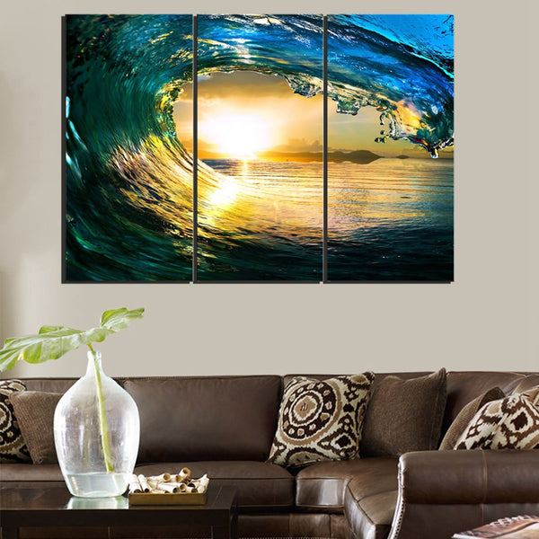 Creative Beautiful Modern Wall Art Sunset Ocean Sea Wave Color Canvas Print Painting Wall Art Artwork Home Decor Wall Office Art