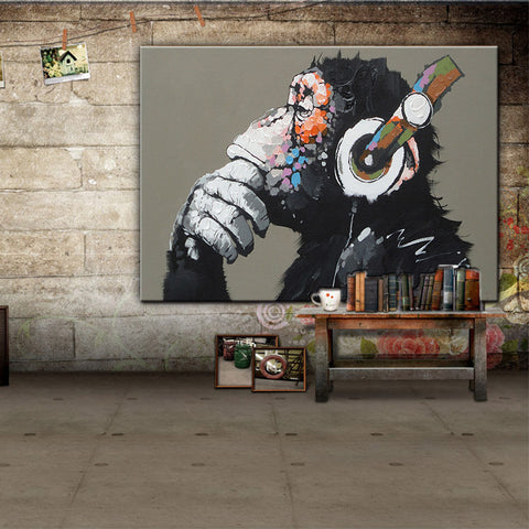 Framed Large Animal Monkey Painting Printed On Canvas Modern Funny Thinking Monkey with Headphone Wall Art Home Decor 1 Pcs