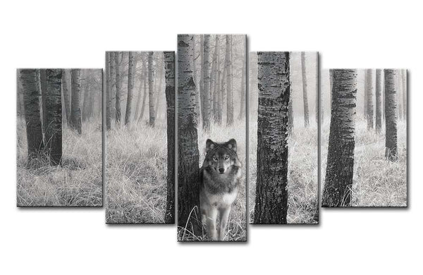 5 Panel Wall Art Painting Watchful Wolf Eyes In The Wild Prints On Canvas The Picture Animal Pictures Oil For  Decor