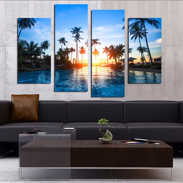 4 Piece Coconut Trees Seascape Canvas Painting Home Decoration Pictures Wall Pictures For Living Room Modular Pictures F18824