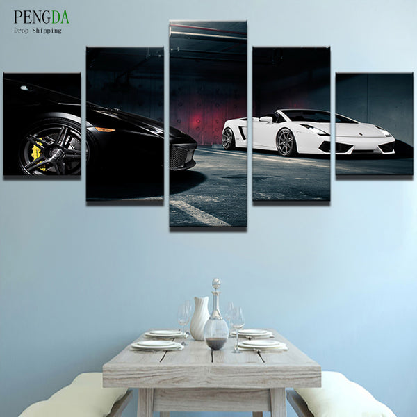 PENGDA Modern Oil Canvas Painting Frame For Room Wall Art Picture 5 Panels Black White Cool Luxury Sports Cars Home Decor Prints