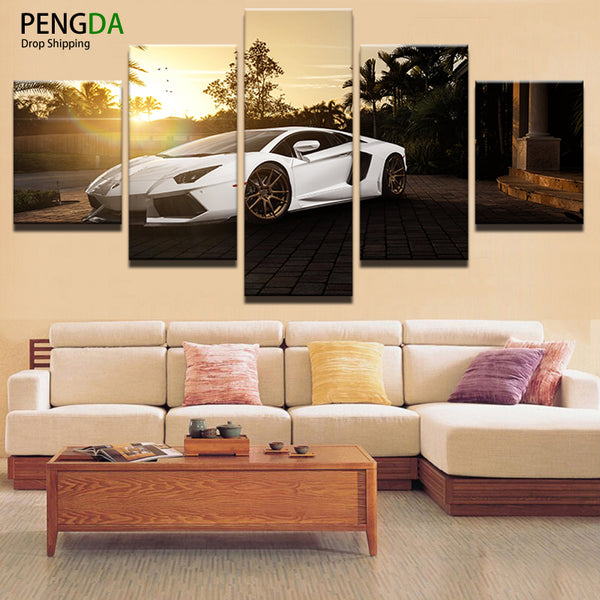 PENGDA Painting Canvas Wall Art Picture Frame Home Decoration Living Room 5 Panel White Luxury Sports Car Canvas Print Painting