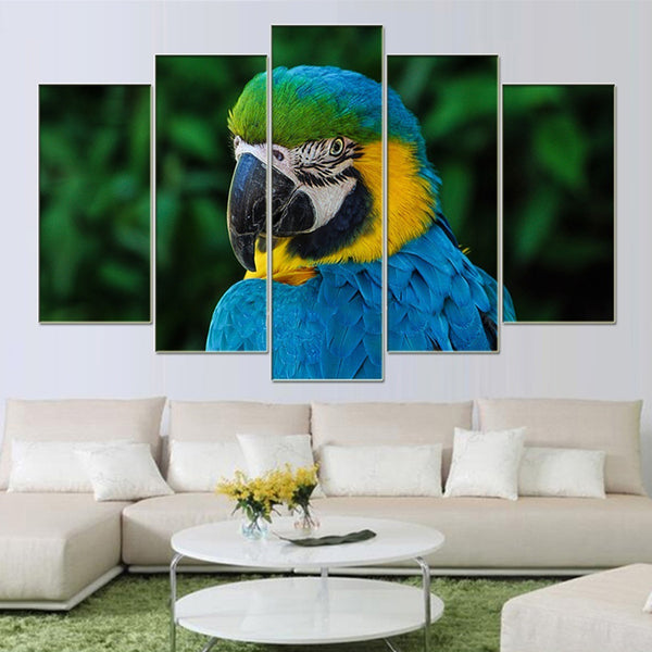 BANMU Wall Art Picture Canvas Paintings 5 Pieces Frameless Canvas Photo Prints Blue Parrot Home Office Artwork Giclee Paintings