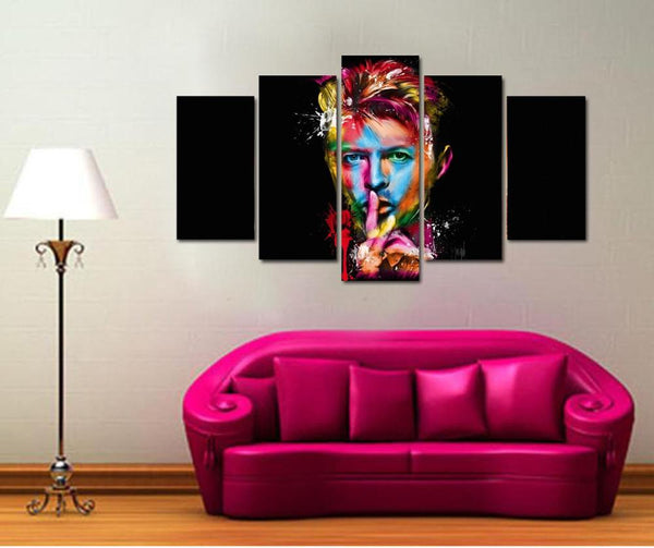 Canvas Frame Painting Wall Art Pictures Home Decor 5 Panel Modern HD Printed David Bowie Singer Songwriter Amazing Poster PENGDA