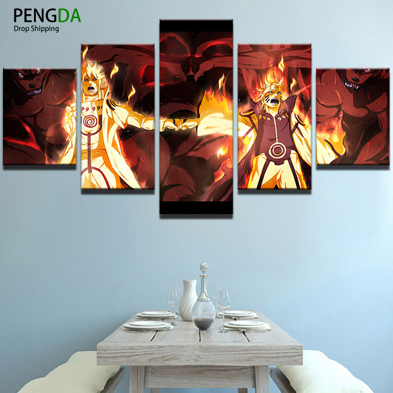 PENGDA Canvas Printed Painting Home Decor Picture Frame Wall Art 5 Panel Cartoon Naruto Characters Poster Decor Modern Artworks