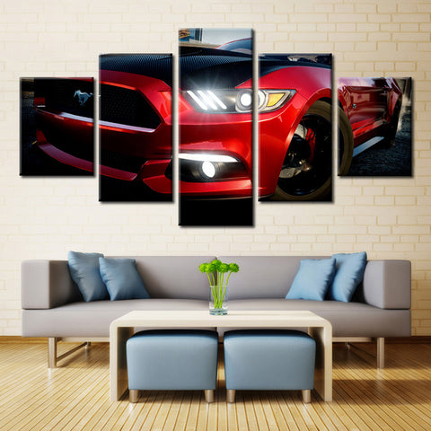 5 Pieces Red Mustang Car Wall Art Picture Modern Home Decoration Living Room Or Bedroom Canvas Print Painting Wall Picture Frame