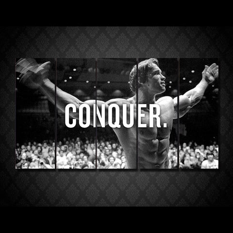 HD Printed 5 piece canvas art Arnold conquer boxer painting room decor black white wall art Free shipping