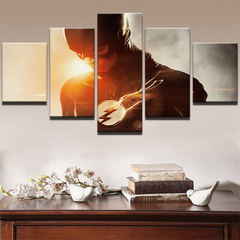 PENGDA Oil Canvas Painting Wall Art Home Decor Frame For Room Pictures 5 Panel Flash Comics Superhero Movie Modern Print Poster