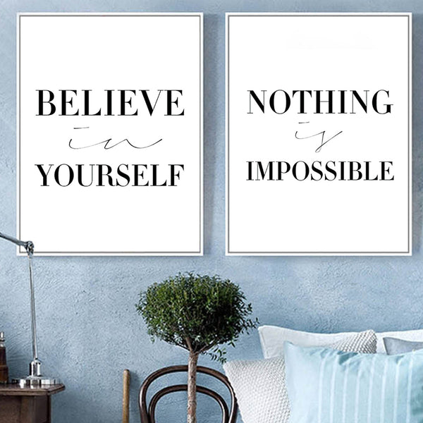 Black White Minimalist Motivational Typography Believe Quotes Art Print Poster Wall Picture Canvas Painting No Frame Home Decor
