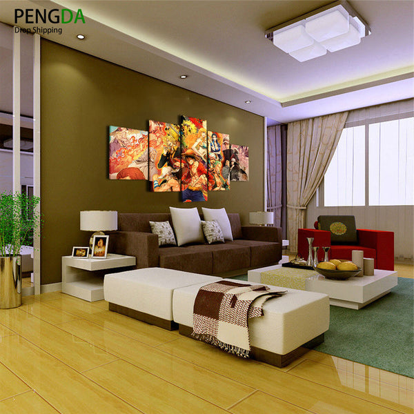 Modular Wall Art Oil Painting HD Printed Modern Poster Frame 5 Panel ONE PIECE Anime Characters Canvas Picture Home Decor PENGDA