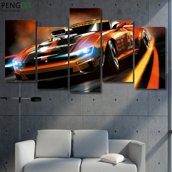 HD Printed Landscape Posters Modular Pictures 5 Pieces Flashy Sports Car Chase Canvas Wall Art Paintings Living Room Home Decor