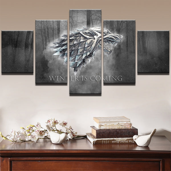 Canvas Wall Art Prints Winter Is Coming Painting Frame Modern Pictures 5 Panels TV Play Game Of Thrones Poster Home Decor PENGDA