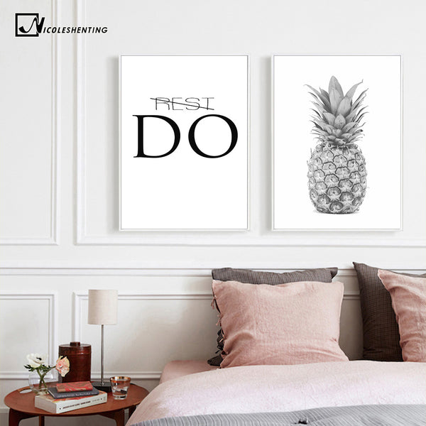 Black White Pineapple Motivational Posters and Prints Canvas Art Paintings Wall Picture for Living Room Wall Art Home Decor