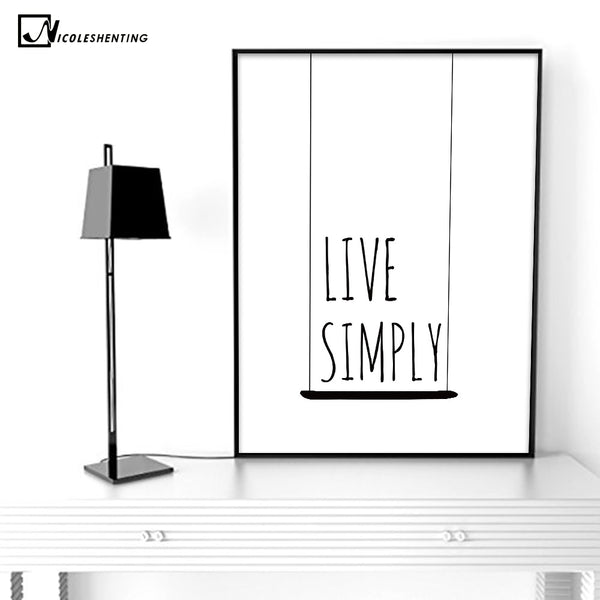 NICOLESHENTING Motivational Life Quote Poster Prints Minimalist Wall Art Canvas Painting Black White Picture Modern Home Decor