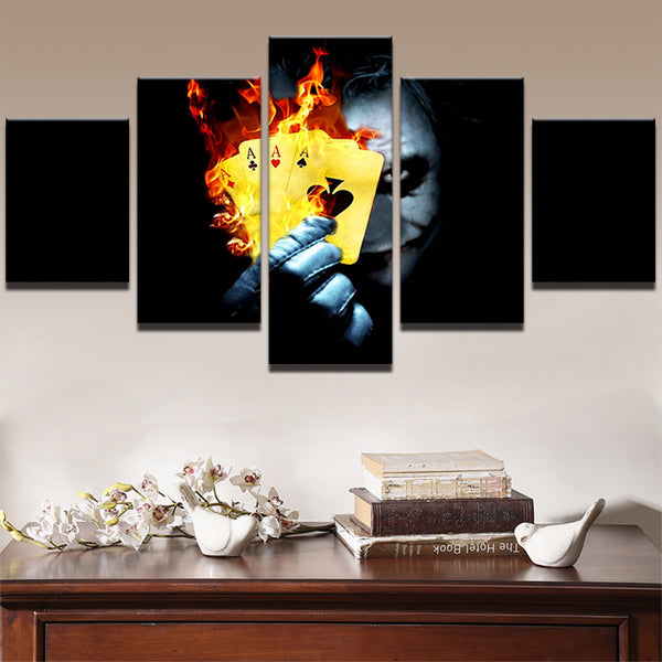 Painting Abstract Art Wall Pictures Frame Home Room Decor Canvas Art Print 5 Panel Movie Batman Joker Flame Poker Poster PENGDA