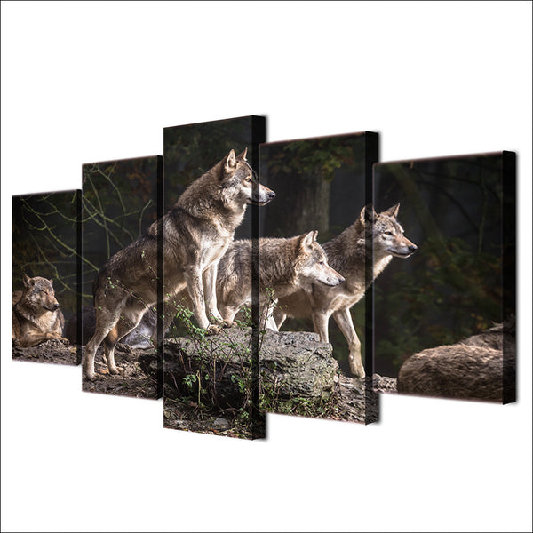 Canvas Painting Living Room Wall Art Animal Poster Frames Modular HD Printed 5 Pieces Wolf Group Hunting Decor Pictures PENGDA