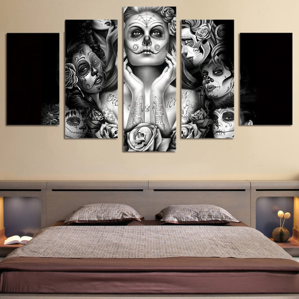 Wall Art Posters Home Decor For Living Room Frame Canvas Skull Pictures 5 Pieces Day Of The Dead Face Painting HD Printed PENGDA