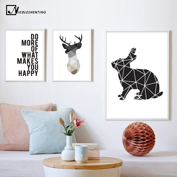 NICOLESHENTING Nordic Style Motivational Poster Print Geometry Deer Wall Art Canvas Painting Picture for Living Room Home Decor
