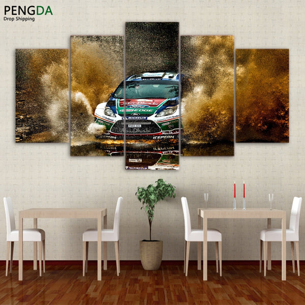 Canvas Painting Wall Art Frame Home Decor Pictures 5 Pieces Sports Racing Car Landscape Poster For Living Room HD Printed PENGDA