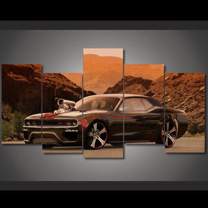 Modern Canvas HD Printed Wall Art Painting 5 Pieces Pictures Flashy Muscle Sports Car Landscape Posters Home Decor Frame PENGDA
