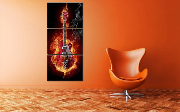 Drop Ship Music Art Wall Painting Print Black Burning Guitar Pop for Home Decor Picture Office Decoration Modular High Quality