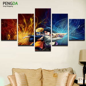 Canvas Painting Modern Living Room Home Decoration Frame Wall Art HD Printed Picture 5 Panel Anime Cartoon Naruto Poster PENGDA