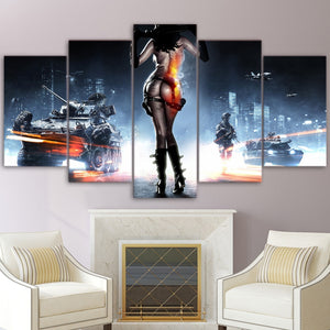 Modern Pictures Canvas Poster HD Printed Wall Art 5 Pieces Home Decor Battlefield Female Warrior Game Painting Framework PENGDA