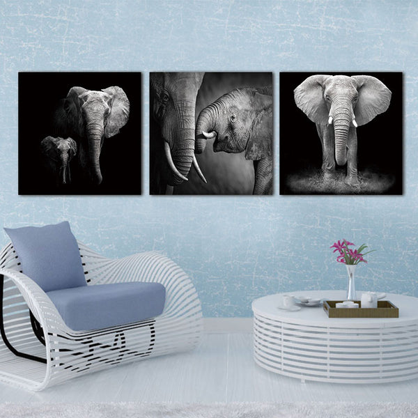 3 Pannel Wall Art Canvas African Elephant Landscape Oil Painting Picture Home Decoration Modern Canvas Print Unframed