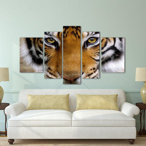 5 Panels Artwork Paintings Modern Canvas Prints Tiger Canvas Wall Art Painting Decor For Living Room Bedroom Home Decorations